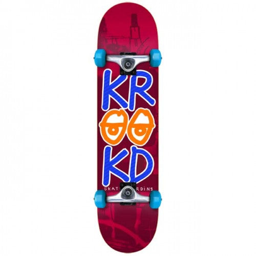 Krooked Stacked Eyes Small Complete Skateboard - 7.5 x 29.3 - Red