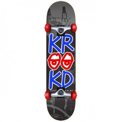 Krooked Stacked Eyes Large Complete Skateboard - 8 x 32 - Grey