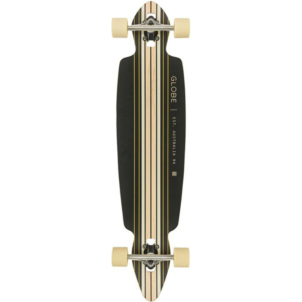 Globe Pinner Drop Through Complete Skateboard - Black/Gold - 41.0in