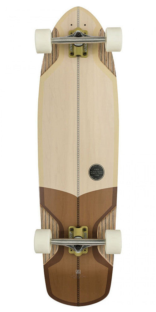 Globe Stubby V-Ply Complete Skateboard - Off White/Brown - 10.0in x 36.75in