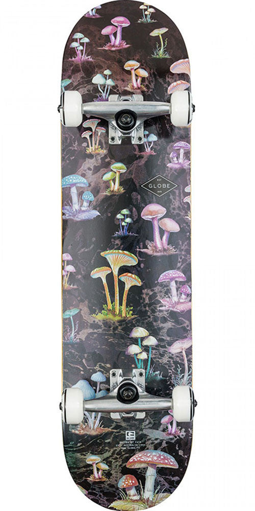 Globe Full On Complete Skateboard - Black/Shrooms - 8.0in