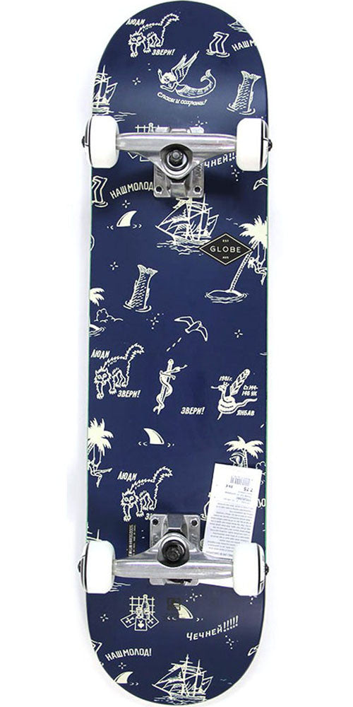 Globe Full On Complete Skateboard - Navy/Creswick - 7.75in x 31.6in