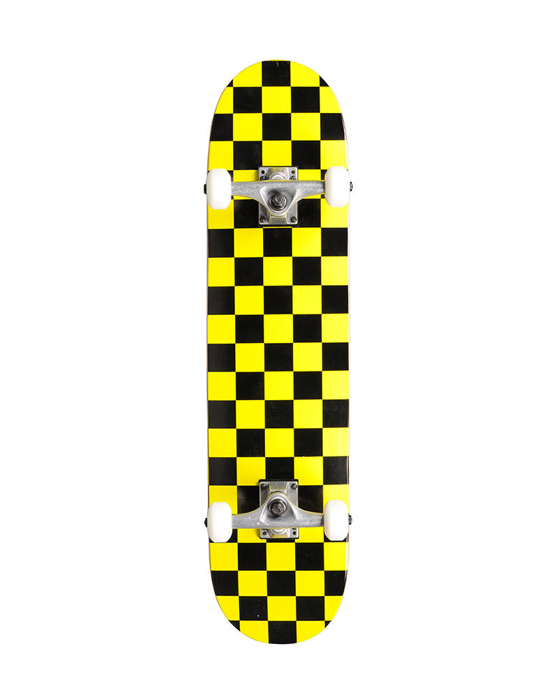 Skate America Blank Complete Skateboard - 7.75 - Black/Yellow Checker