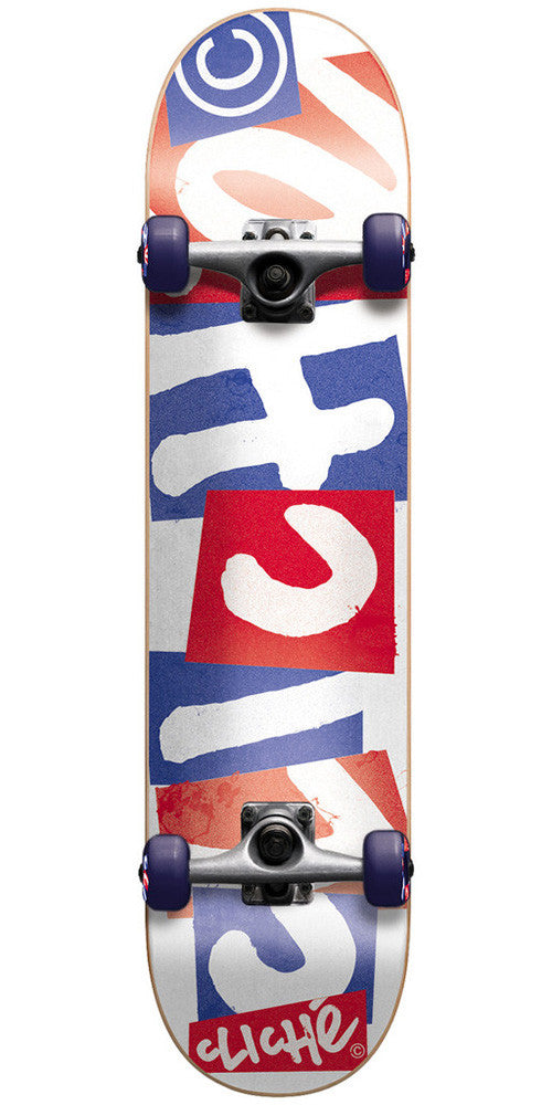Cliche Chopped Complete Skateboard - 7.9 - Red/White/Blue
