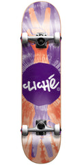 Cliche Peace Complete Skateboard - 7.6in - Purple/Red