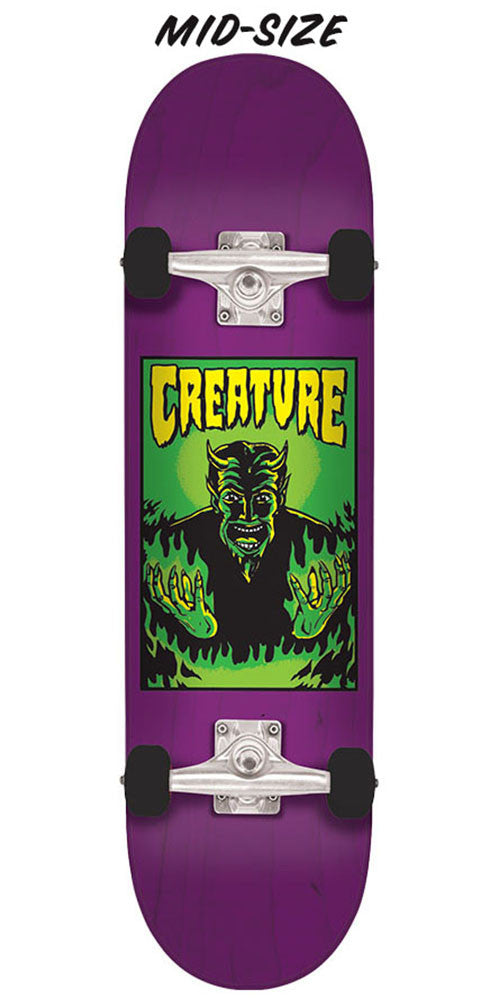 Creature Lil Devil Team Mid Sk8 Complete Skateboard - Purple - 7.25in x 29.9in