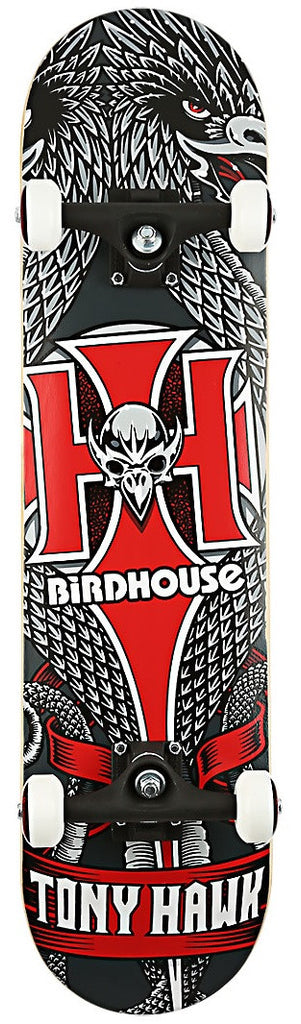 Birdhouse Hawk Emblem Complete Skateboard - 7.5 - Black/Red/White
