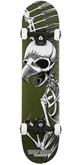 Birdhouse Hawk Full Skull Mini Complete Skateboard - 7.25 - Green/Black/White