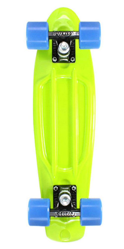 Stereo Vinyl Cruiser - Lime/Black/Blue - 6in x 22.5in - Complete Skateboard