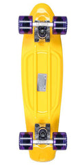 Stereo Vinyl Cruiser - Yellow/Raw/Purple - 6in x 22.5in - Complete Skateboard