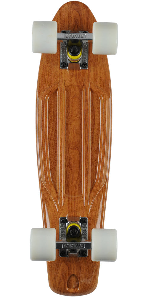 Stereo Vinyl Cruiser Complete Skateboard - Wood Grain - 6in x 22.5in