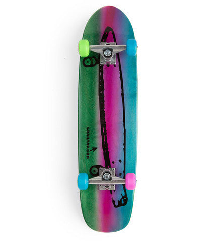 Crailtap Cruiser Medium Complete Skateboard - 8 x 31 - Green/Purple/Blue
