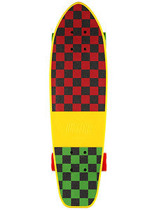Dusters Mighty Cruiser Complete Skateboard - 7.25 x 25 - Yellow/Rasta Checker