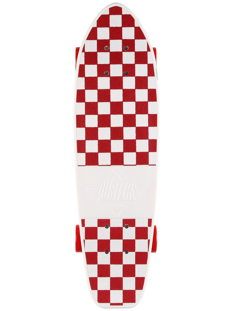 Dusters Mighty Cruiser Complete Skateboard - 7.25 x 25 - White/Red Checker