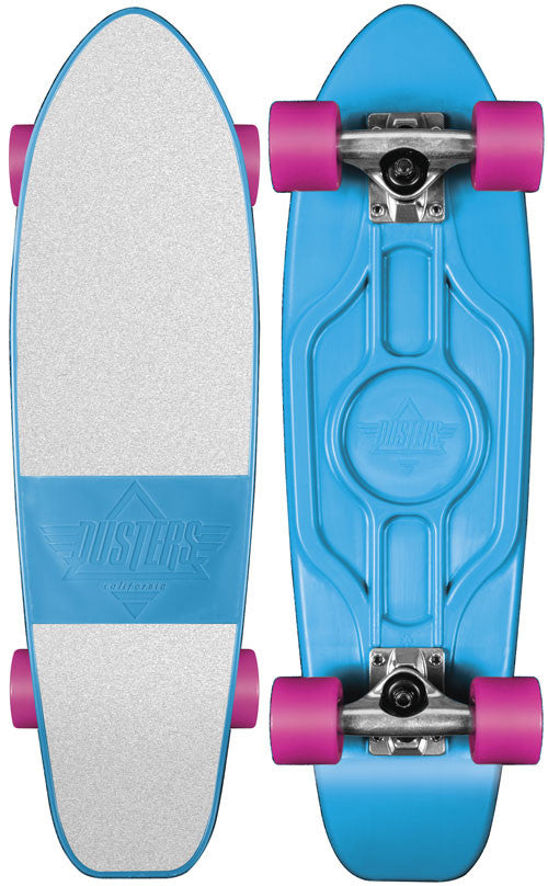 Dusters Mighty Cruiser Complete Skateboard - 7.25 x 25 - Blue/White/Pink
