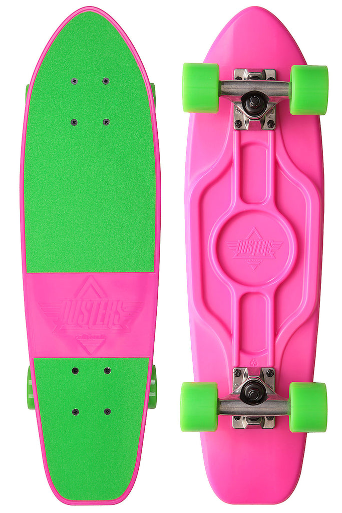 Dusters Mighty Cruiser Complete Skateboard - 7.25 x 25 - Neon Pink/Green