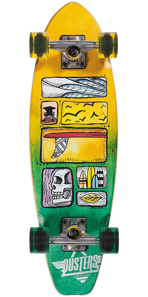 Dusters Nugg Dazed Cruiser Complete Skateboard - 8.25 x 27.5 - Yellow/Green