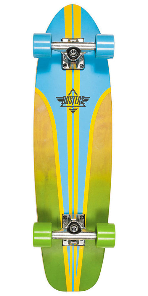 Dusters Glassy Pinstripe Cruiser Complete Skateboard - Blue/Yellow - 29in