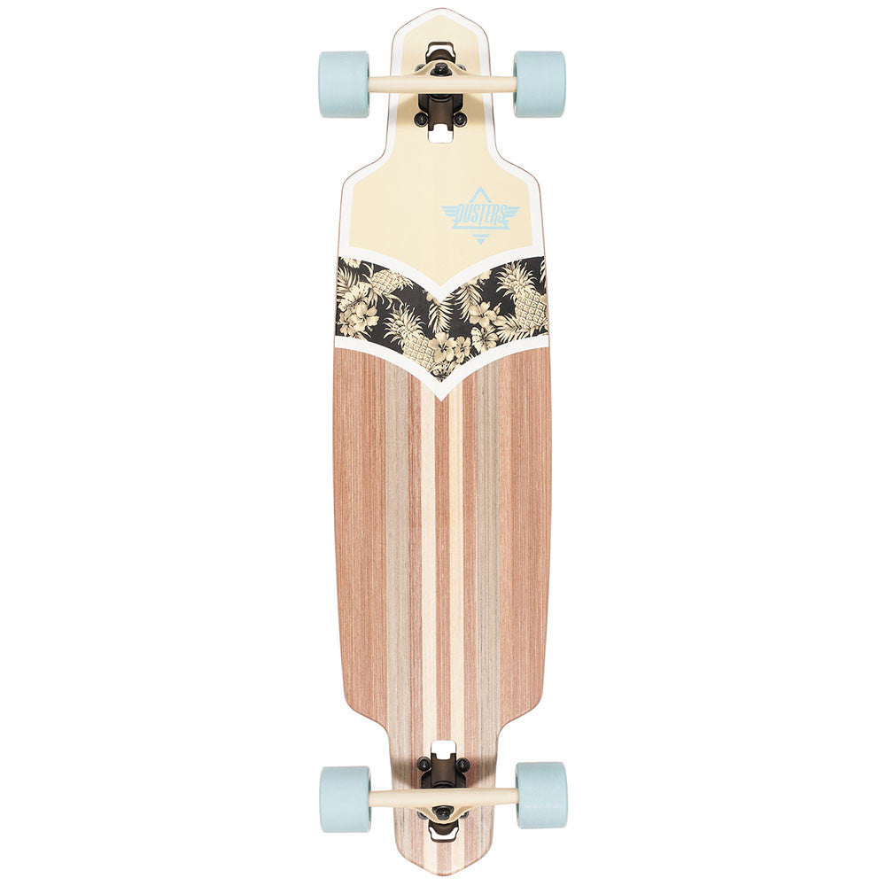 Dusters Duke Longboard Cruiser Complete Skateboard - Off White/Blue - 38in