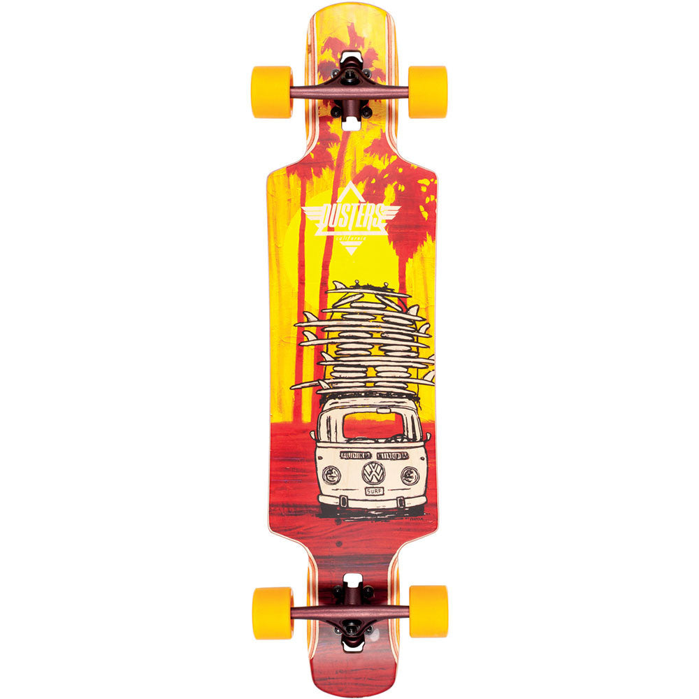 Dusters Quiver Longboard Complete Skateboard - Yellow/Maroon - 38.5in