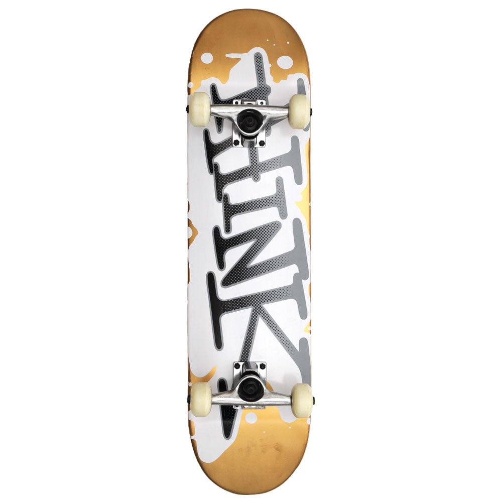 Think 'Spray Tag' Complete Skateboard - 7.875 - Gold/White