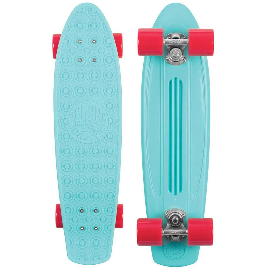 Gold Cup Banana Board Cruzer Complete Skateboard - 6 x 23.25 - Aqua/Red