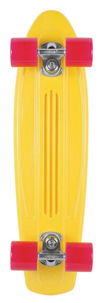 Gold Cup Banana Board Cruzer Complete Skateboard - 6 x 23.25 - Yellow Rhodamine Red