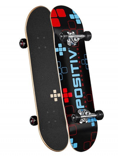 Positiv Andy Macdonald Digital Series Complete Skateboard - 8.0 - Black/Blue/Red