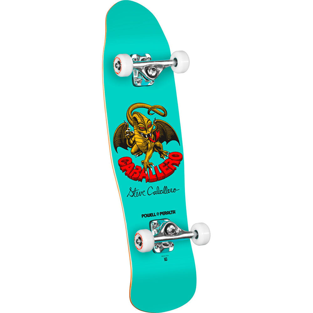 Powell Peralta Mini Caballero Dragon II 5 Complete Skateboard - Teal - 8.0in x 29.5in