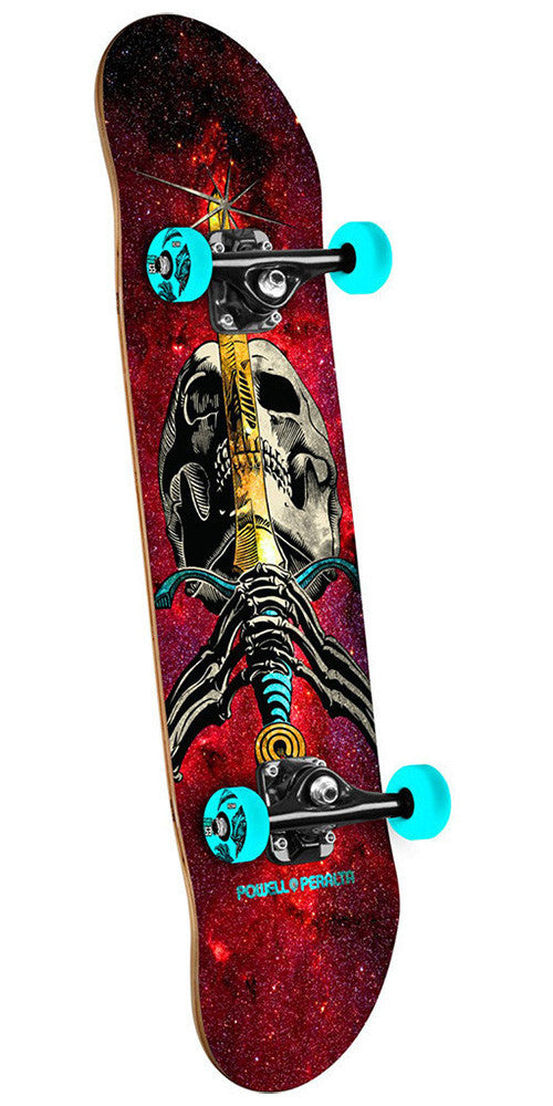 Powell Peralta Skull and Sword Complete Skateboard - Cosmic Red - 7.88in x 31.67in