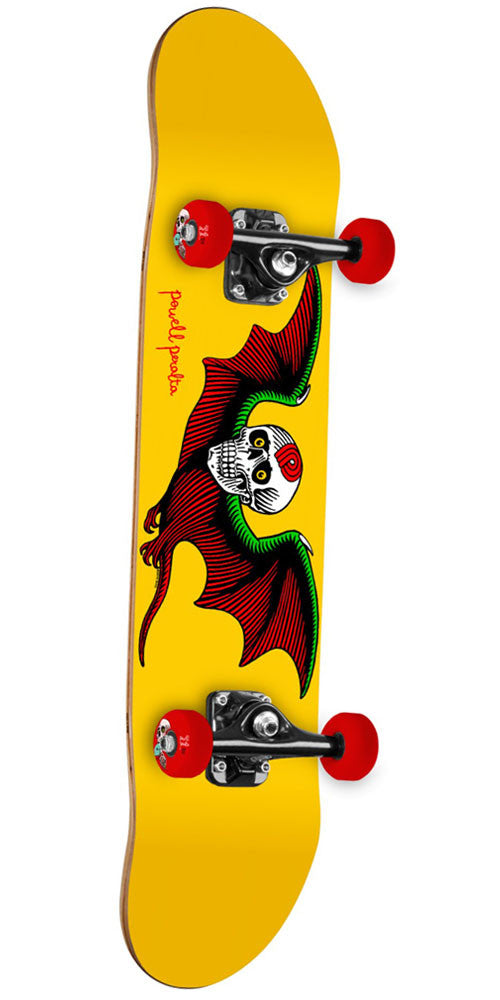 Powell Peralta Bat Skull Complete Skateboard - Yellow - 7.75in x 31.75in