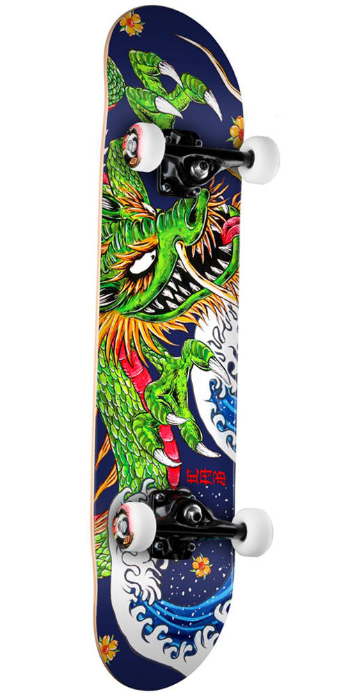 Powell Peralta Golden Dragon Cab Ink Dragon II Complete Skateboard - Blue - 7.13in x 28.5in
