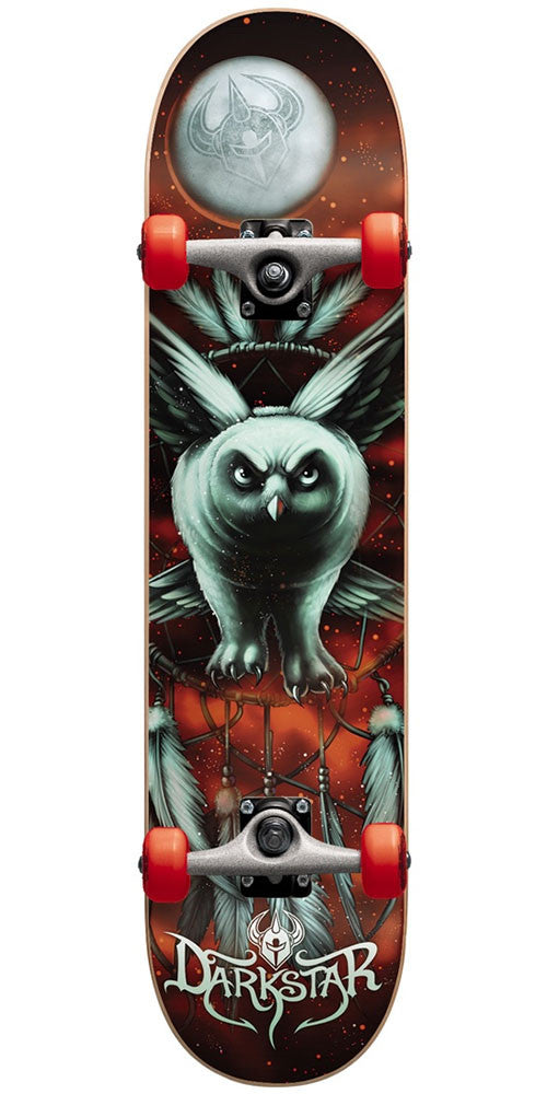 DarkStar Night Owl Youth Mid Complete Skateboard - Red - 7.375in