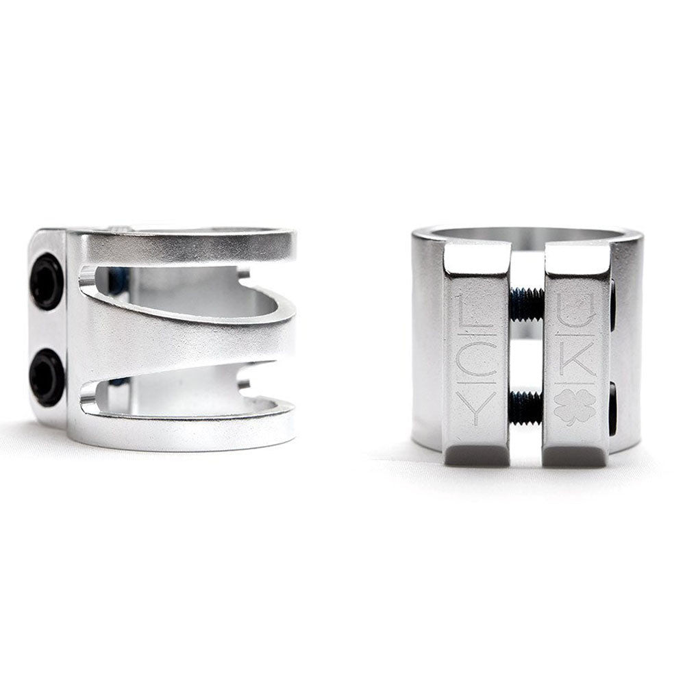 "Lucky Dub Cut Out 1 3/8"" Scooter Clamp - Polished Silver"