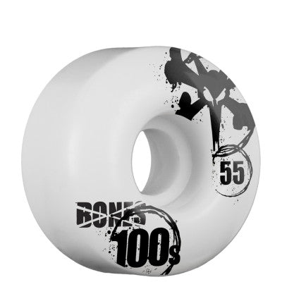 Bones O.G. 100's V4 Skateboard Wheels 55mm - White (Set of 4)