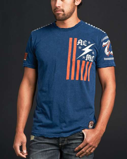 Affliction ACMC Flag SS Crewneck Mens T-Shirt - Navy