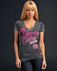 Affliction Speedway Baby V-Neck - Grey - Womens T-Shirt