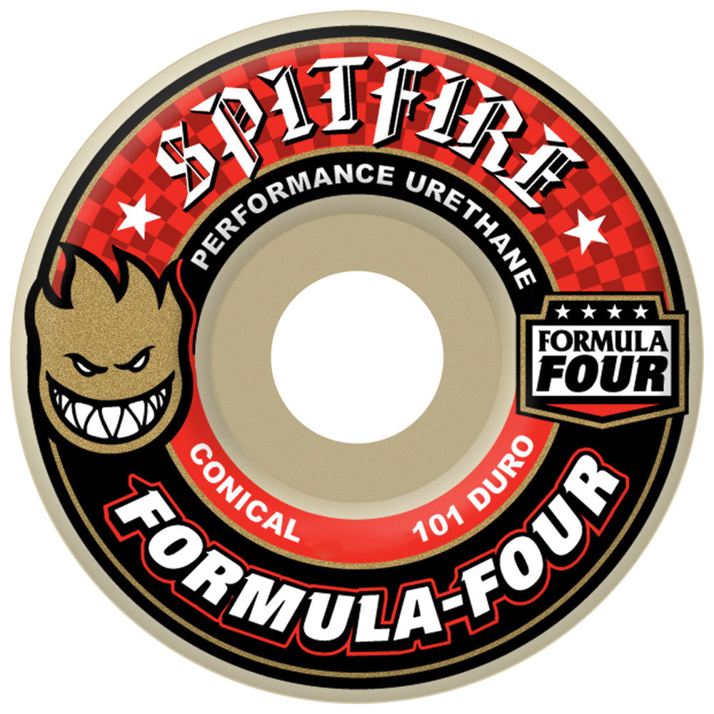 Spitfire Formula Four Conical Skateboard Wheels - 52mm 101a - White (Set of 4)