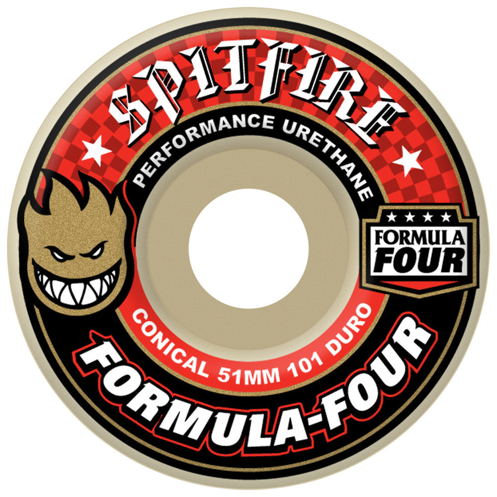 Spitfire Formula Four Conical Skateboard Wheels - 51mm 101a - White (Set of 4)