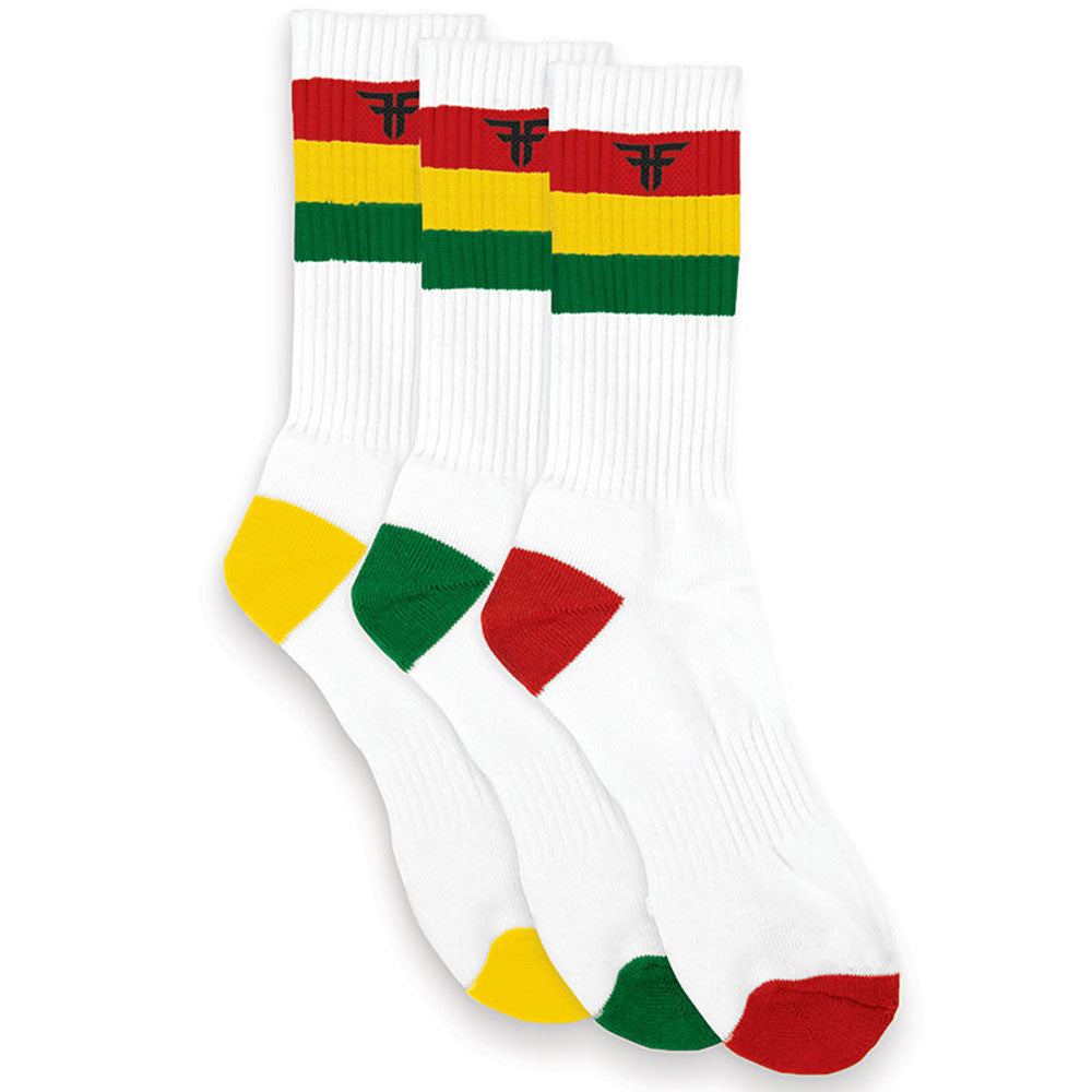 Fallen Trademark Rasta Stripe Men's Socks - White (3 Pairs)