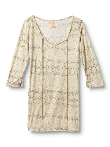 Quiksilver Lace Stripe Tunic Top - Natural - Womens Shirt
