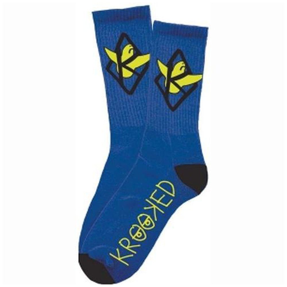 Krooked Kaged Bird Men's Socks - Royal/Yellow (1 Pair)