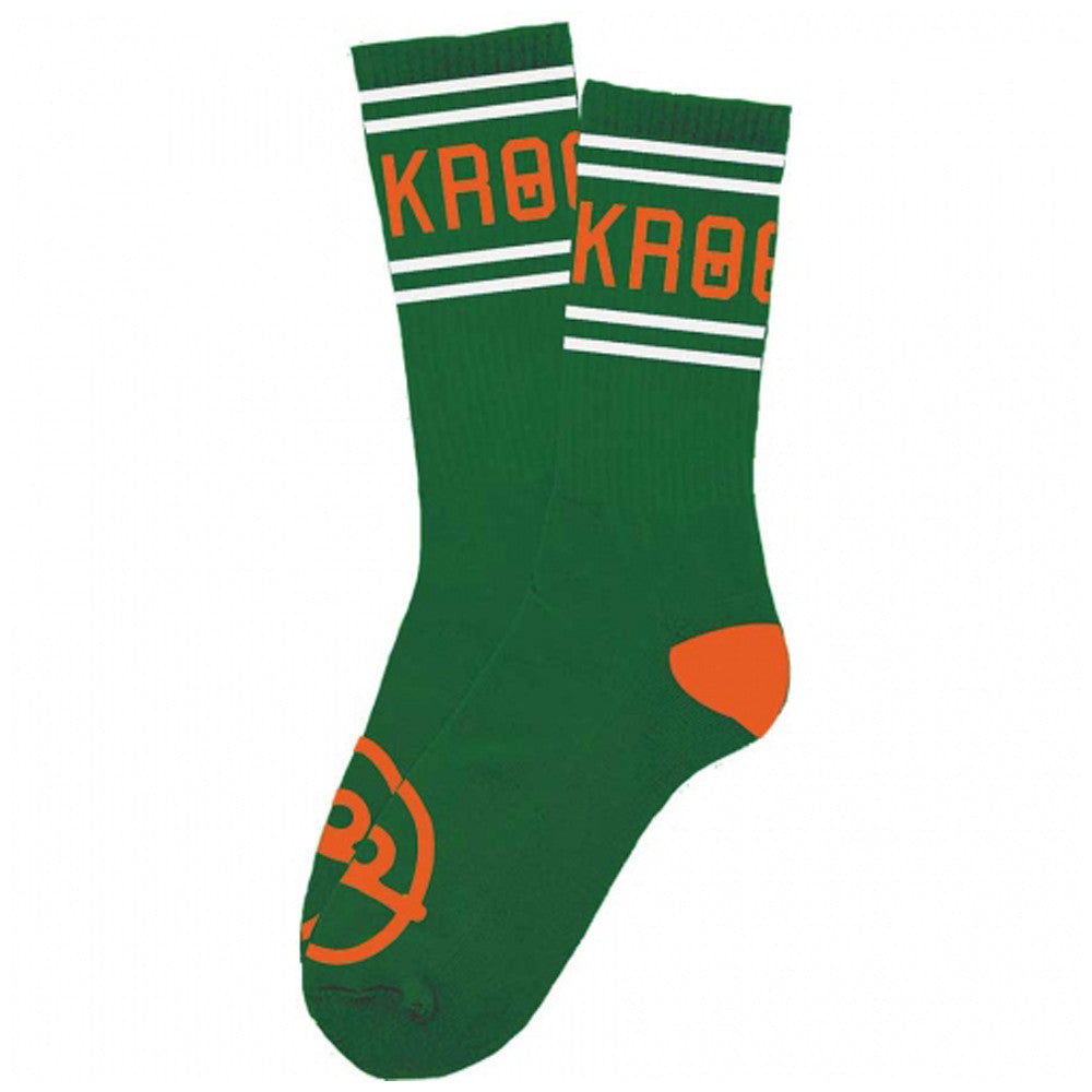 Krooked Kollege Men's Socks - Green/Orange (1 Pair)
