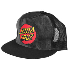 Santa Cruz Classic Dot Trucker Mesh Men's Hat - Black/Tie Dye