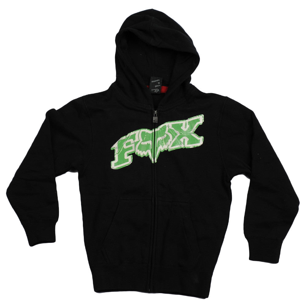 Fox Up Against Zip-Up Front Fleece - Black/Green - Youth Sweatshirt