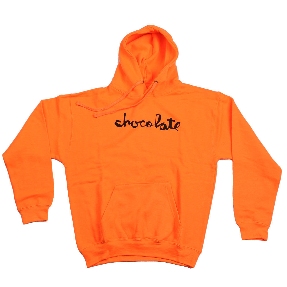 Chocolate Neon Pullover Hoodie Men's Sweatshirt - Neon Orange