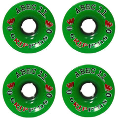 Abec 11 Grippins - Green - 70mm 81a - Skateboard Wheels (Set of 4)