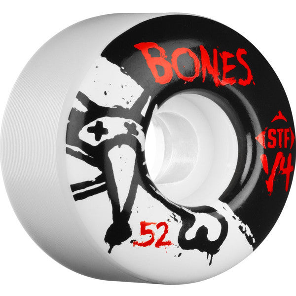 Bones STF V4 Series Skateboard Wheels - White - 52mm 83b (Set of 4)