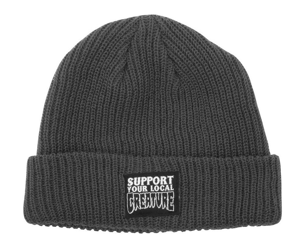 Creature Support Long Shoreman Men's Beanie - One Size Fits All - Charcoal