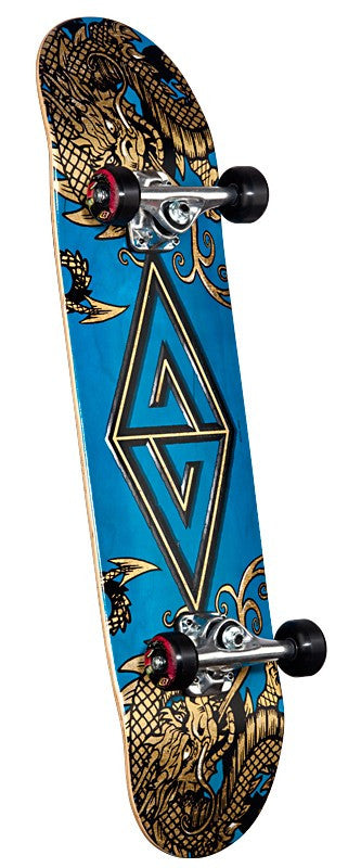 Powell Golden Dragon Two Dragons Complete Skateboard - 7.88 - Blue/Gold